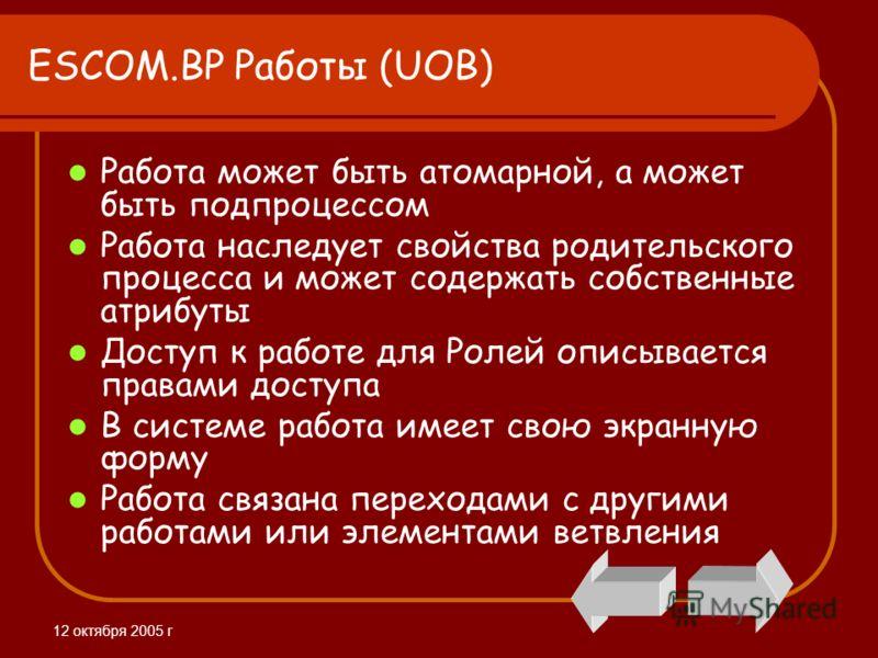 12 октября 2005 г ESCOM.BP Работы (UOB) Работа может быть атомарной, а может быть подпроцессом Работа наследует свойства родительского процесса и может содержать собственные атрибуты Доступ к работе для Ролей описывается правами доступа В системе раб