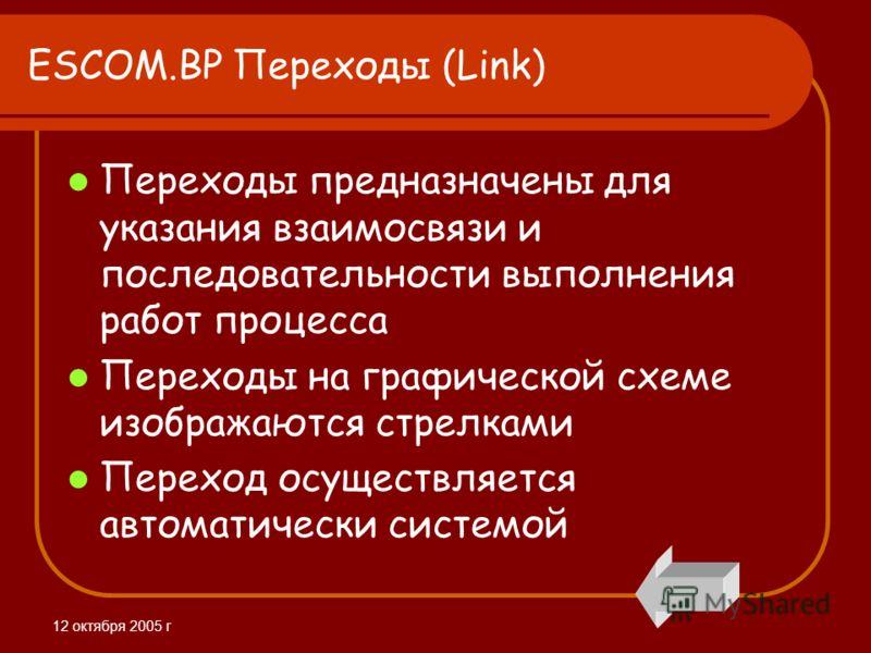 12 октября 2005 г ESCOM.BP Переходы (Link) Переходы предназначены для указания взаимосвязи и последовательности выполнения работ процесса Переходы на графической схеме изображаются стрелками Переход осуществляется автоматически системой
