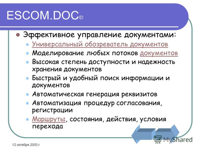 12 октября 2005 г ESCOM.DOC Эффективное управление документами: Универсальный обозреватель документов Моделирование любых потоков документовдокументов Высокая степень доступности и надежность хранения документов Быстрый и удобный поиск информации и д
