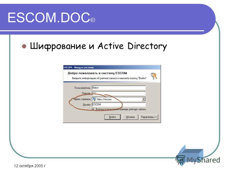 12 октября 2005 г ESCOM.DOC Шифрование и Active Directory