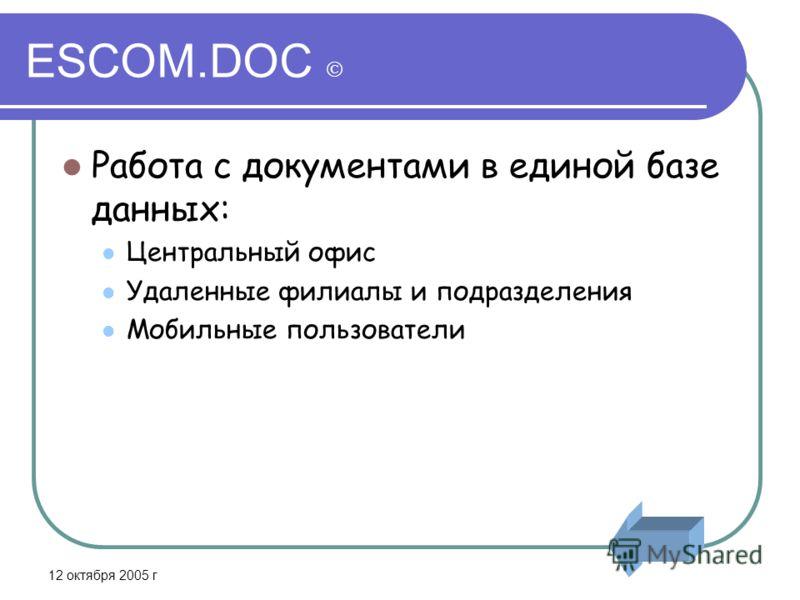 12 октября 2005 г ESCOM.DOC Работа с документами в единой базе данных: Центральный офис Удаленные филиалы и подразделения Мобильные пользователи