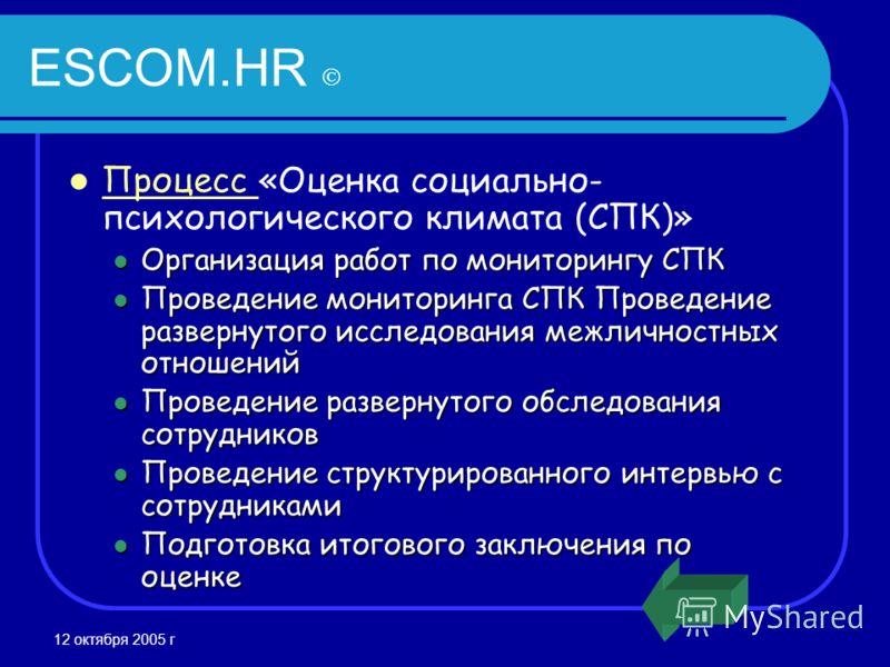12 октября 2005 г ESCOM.HR Процесс «Оценка социально- психологического климата (СПК)» Процесс Организация работ по мониторингу СПК Организация работ по мониторингу СПК Проведение мониторинга СПК Проведение развернутого исследования межличностных отно