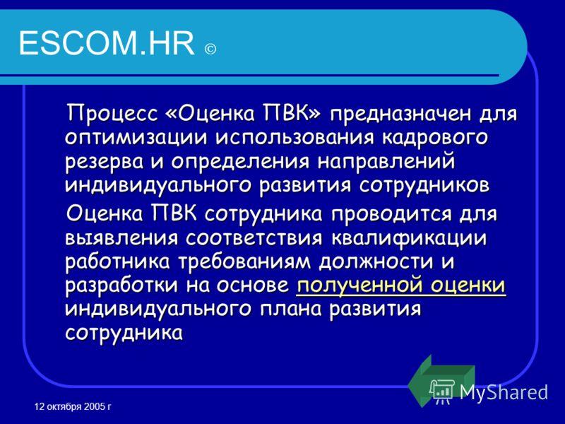 12 октября 2005 г ESCOM.HR Процесс «Оценка ПВК» предназначен для оптимизации использования кадрового резерва и определения направлений индивидуального развития сотрудников Оценка ПВК сотрудника проводится для выявления соответствия квалификации работ