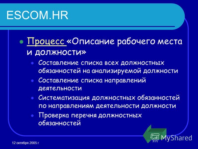 12 октября 2005 г ESCOM.HR Процесс «Описание рабочего места и должности» Процесс Составление списка всех должностных обязанностей на анализируемой должности Составление списка направлений деятельности Систематизация должностных обязанностей по направ