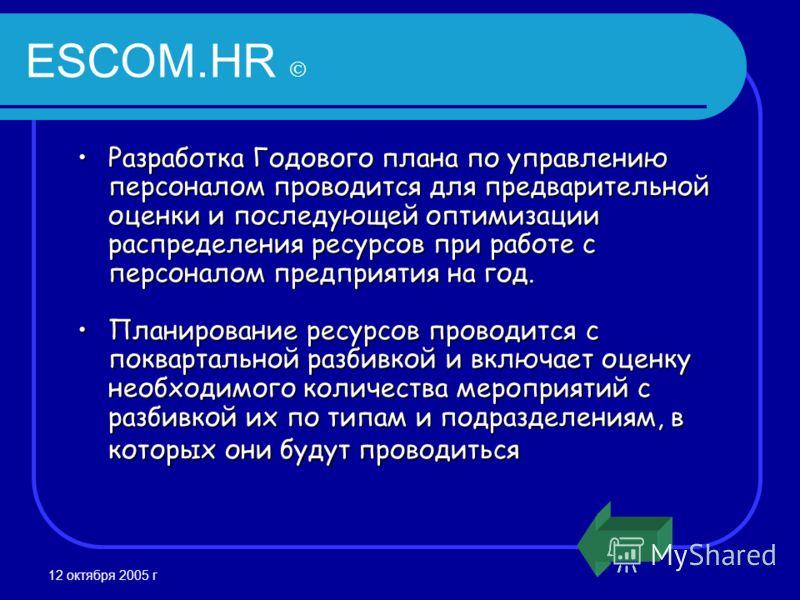 12 октября 2005 г ESCOM.HR Разработка Годового плана по управлению персоналом проводится для предварительной оценки и последующей оптимизации распределения ресурсов при работе с персоналом предприятия на год.Разработка Годового плана по управлению пе