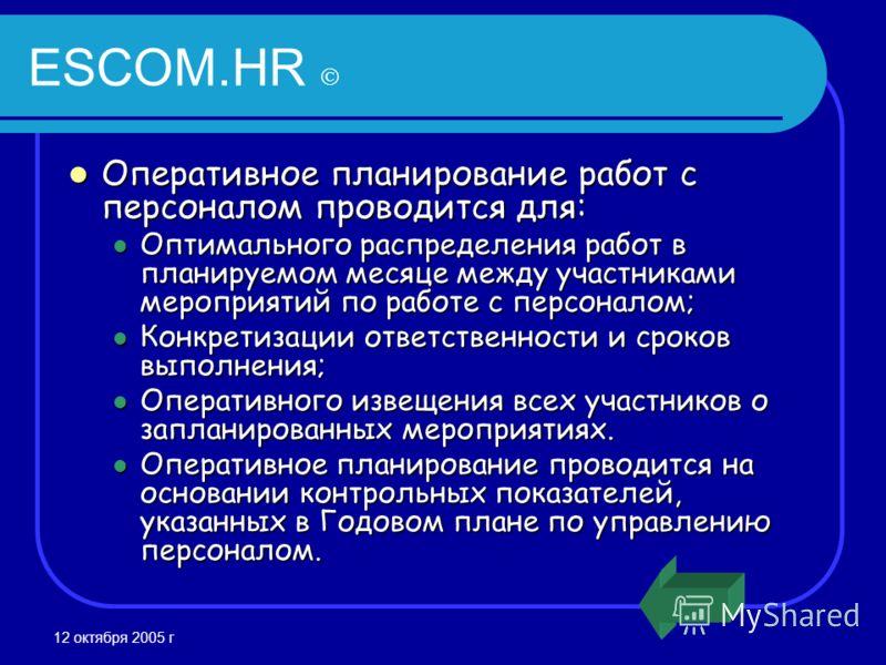 12 октября 2005 г ESCOM.HR Оперативное планирование работ с персоналом проводится для: Оперативное планирование работ с персоналом проводится для: Оптимального распределения работ в планируемом месяце между участниками мероприятий по работе с персона