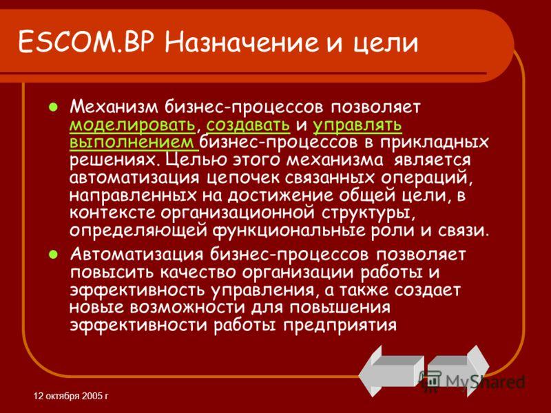 12 октября 2005 г ESCOM.BP Назначение и цели Механизм бизнес-процессов позволяет моделировать, создавать и управлять выполнением бизнес-процессов в прикладных решениях. Целью этого механизма является автоматизация цепочек связанных операций, направле