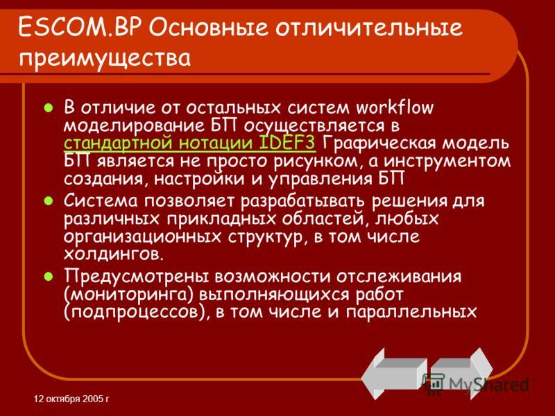 12 октября 2005 г ESCOM.BP Основные отличительные преимущества В отличие от остальных систем workflow моделирование БП осуществляется в стандартной нотации IDEF3 Графическая модель БП является не просто рисунком, а инструментом создания, настройки и