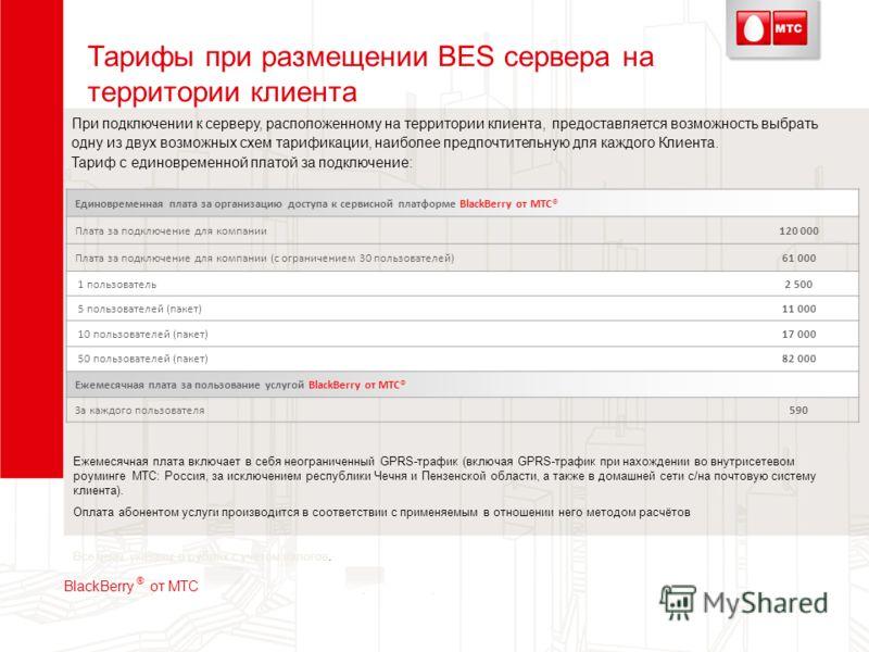 Тарифы при размещении BES сервера на территории клиента При подключении к серверу, расположенному на территории клиента, предоставляется возможность выбрать одну из двух возможных схем тарификации, наиболее предпочтительную для каждого Клиента. Тариф