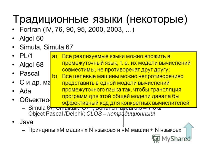 Традиционные языки (некоторые) Fortran (IV, 76, 90, 95, 2000, 2003, …) Algol 60 Simula, Simula 67 PL/1 Algol 68 Pascal C и др. машинно-ориентированные языки Ada Объектно-ориентированные языки –Simula 67, Smalltalk, C++, Borland Pascal 5.5 – 7.0 & Obj