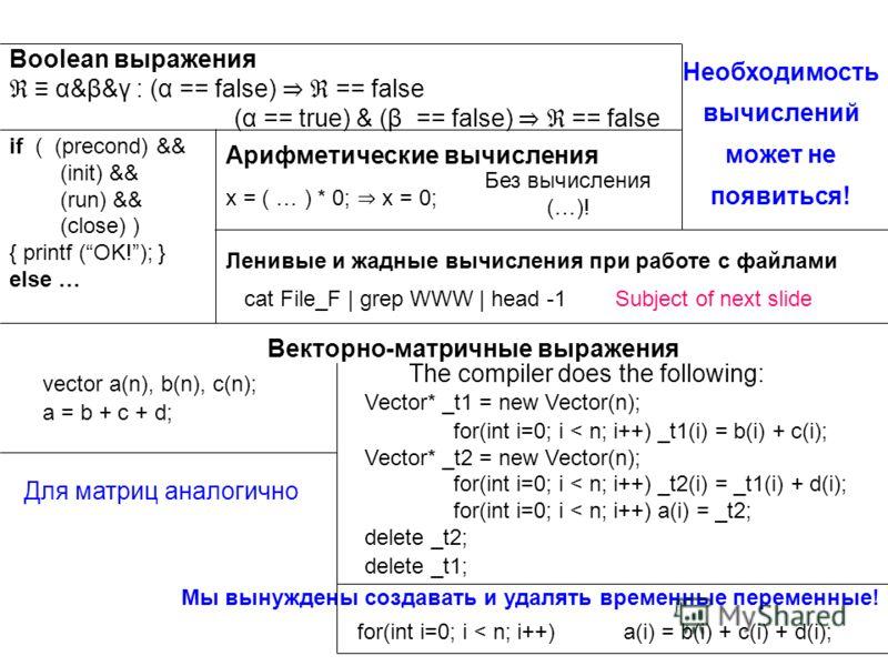 Boolean выражения α&β&γ : (α == false) == false (α == true) & (β == false) == false if ( (precond) && (init) && (run) && (close) ) { printf (OK!); } else … Векторно-матричные выражения vector a(n), b(n), c(n); a = b + c + d; Необходимость вычислений