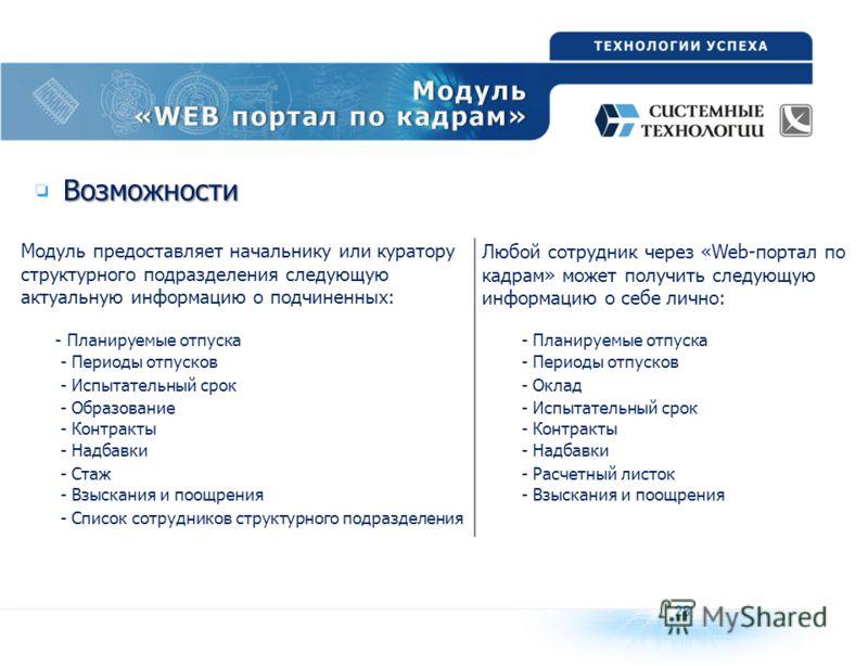 Возможности Модуль предоставляет начальнику или куратору структурного подразделения следующую актуальную информацию о подчиненных: Любой сотрудник через «Web-портал по кадрам» может получить следующую информацию о себе лично: - Планируемые отпуска -
