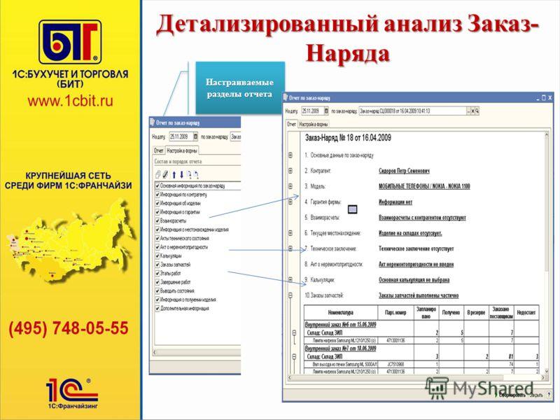 Детализированный анализ Заказ- Наряда Настраиваемые разделы отчета