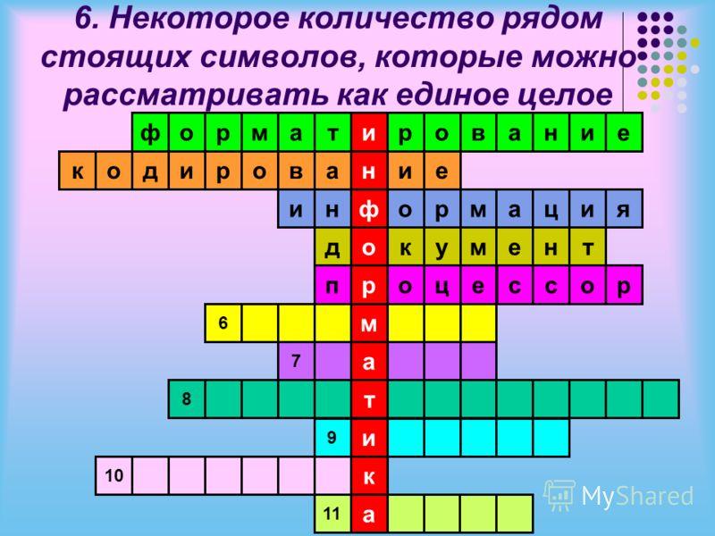 6. Некоторое количество рядом стоящих символов, которые можно рассматривать как единое целое и н ф о р м а т и к а тамрофровани аворидокие ниормация дкумент поцессор 6 7 8 9 10 11 е