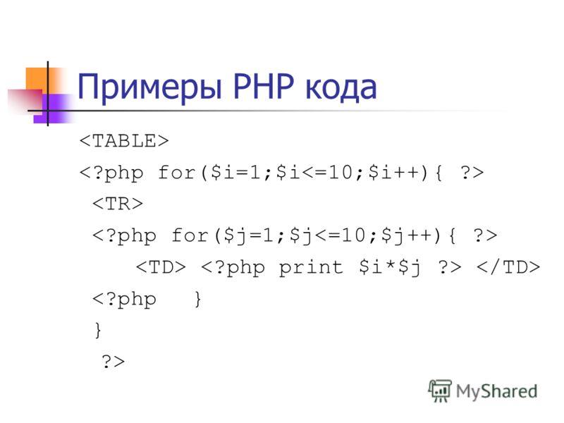Примеры PHP кода