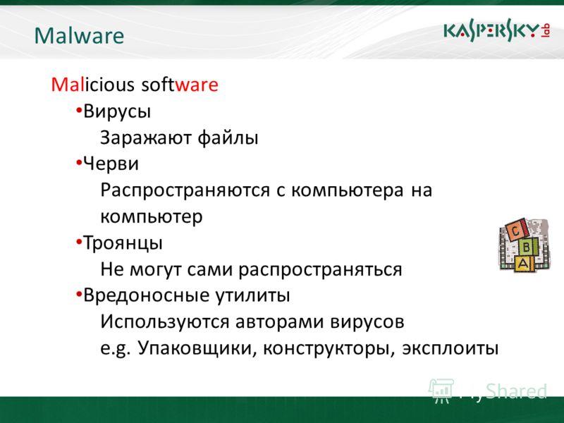 KL On-Boarding. Moscow Malware Malicious software Вирусы Заражают файлы Черви Распространяются с компьютера на компьютер Троянцы Не могут сами распространяться Вредоносные утилиты Используются авторами вирусов e.g. Упаковщики, конструкторы, эксплоиты