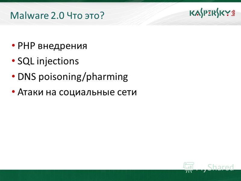 KL On-Boarding. Moscow Malware 2.0 Что это? PHP внедрения SQL injections DNS poisoning/pharming Атаки на социальные сети