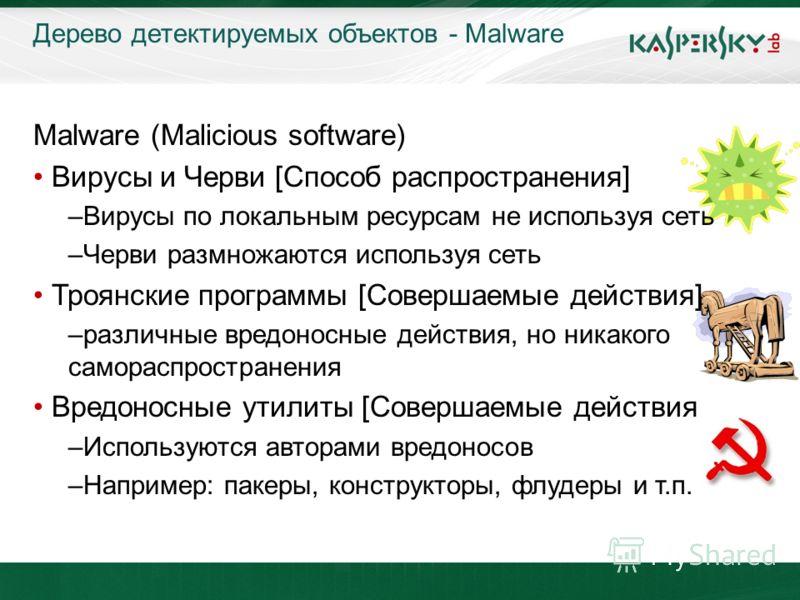KL On-Boarding. Moscow Дерево детектируемых объектов - Malware Malware (Malicious software) Вирусы и Черви [Способ распространения] –Вирусы по локальным ресурсам не используя сеть –Черви размножаются используя сеть Троянские программы [Совершаемые де