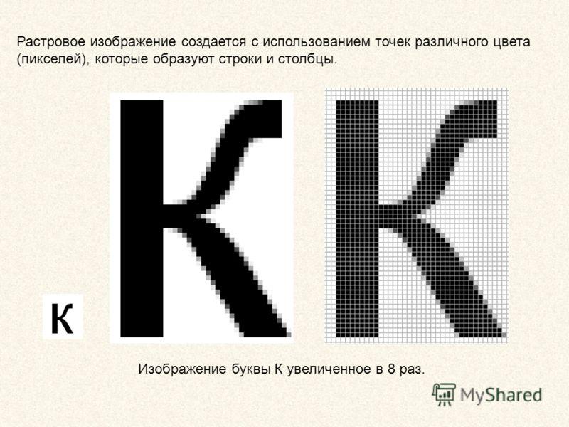 Растровое изображение создается с использованием точек различного цвета (пикселей), которые образуют строки и столбцы. Изображение буквы К увеличенное в 8 раз.