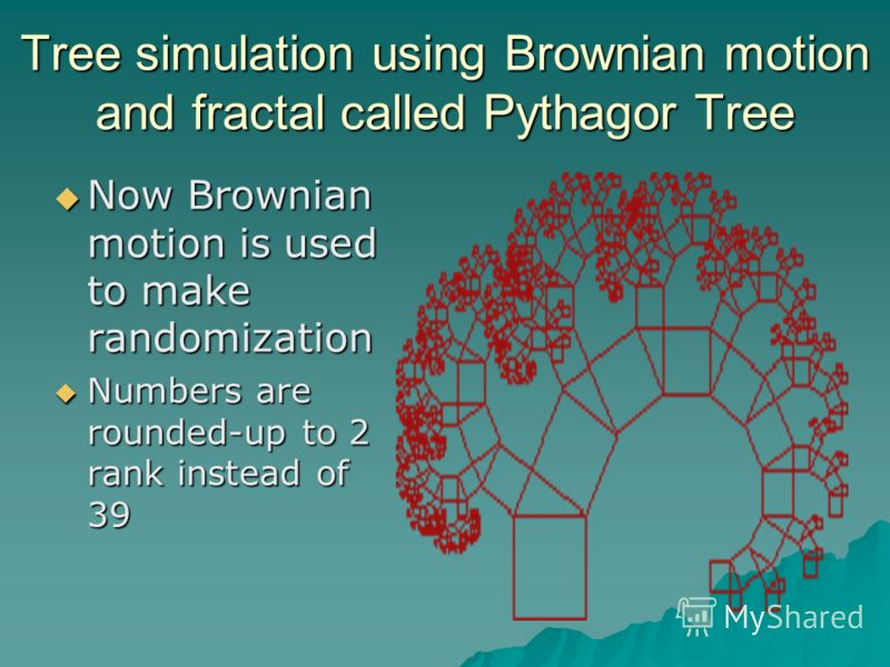 Tree simulation using Brownian motion and fractal called Pythagor Tree Now Brownian motion is used to make randomization Now Brownian motion is used to make randomization Numbers are rounded-up to 2 rank instead of 39 Numbers are rounded-up to 2 rank