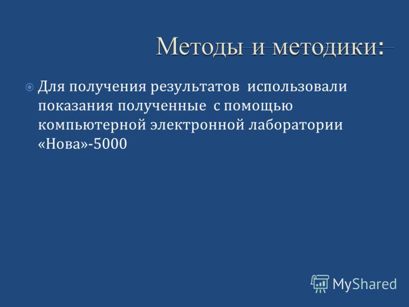 Методы и методики : Методы и методики : Для получения результатов использовали показания полученные с помощью компьютерной электронной лаборатории «Нова»-5000