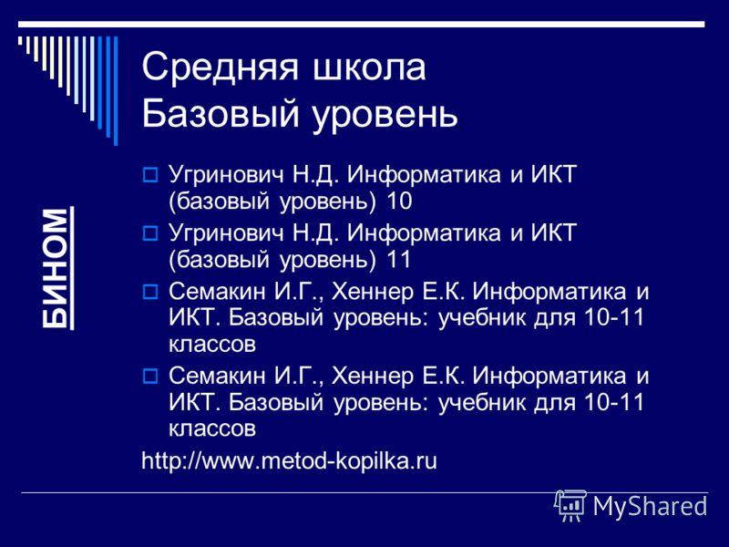 Средняя школа Базовый уровень Угринович Н.Д. Информатика и ИКТ (базовый уровень) 10 Угринович Н.Д. Информатика и ИКТ (базовый уровень) 11 Семакин И.Г., Хеннер Е.К. Информатика и ИКТ. Базовый уровень: учебник для 10-11 классов http://www.metod-kopilka