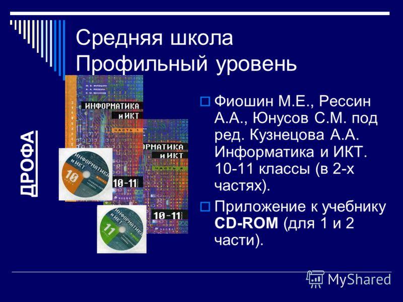Средняя школа Профильный уровень Фиошин М.Е., Рессин А.А., Юнусов С.М. под ред. Кузнецова А.А. Информатика и ИКТ. 10-11 классы (в 2-х частях). Приложение к учебнику CD-ROM (для 1 и 2 части). ДРОФА