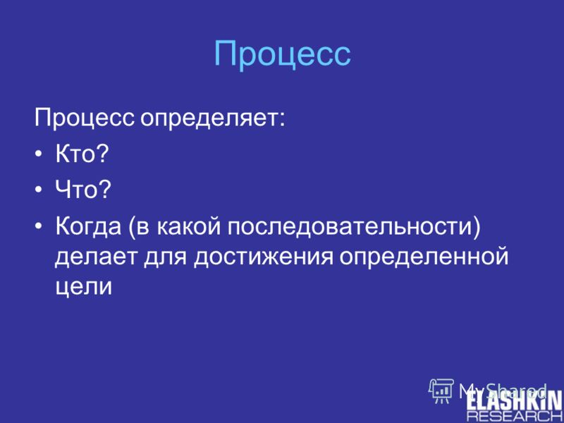 Процесс Процесс определяет: Кто? Что? Когда (в какой последовательности) делает для достижения определенной цели