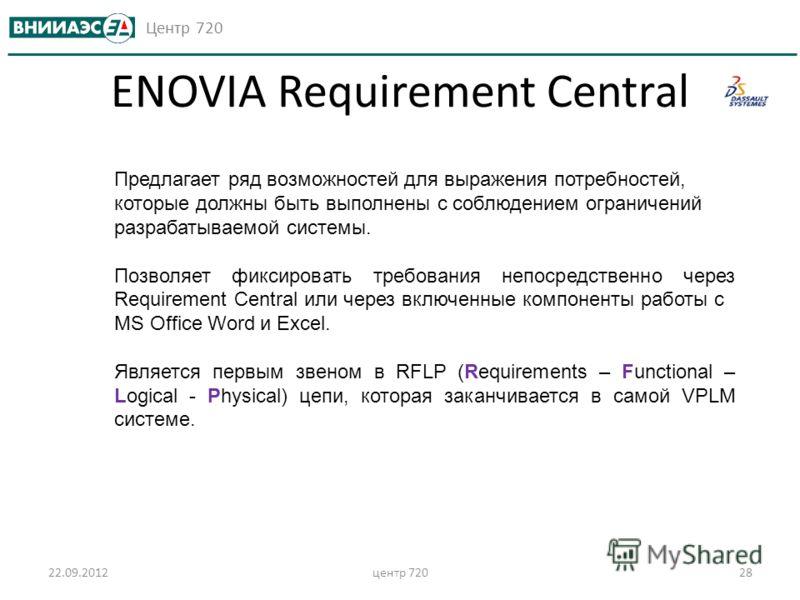 Центр 720 22.09.2012центр 72028 ENOVIA Requirement Central Предлагает ряд возможностей для выражения потребностей, которые должны быть выполнены с соблюдением ограничений разрабатываемой системы. Позволяет фиксировать требования непосредственно через