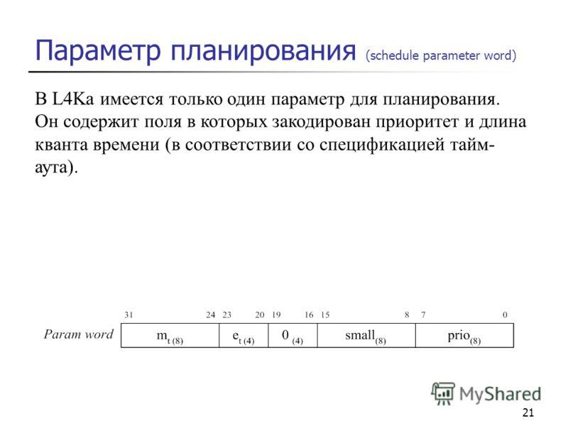 21 В L4Ka имеется только один параметр для планирования. Он содержит поля в которых закодирован приоритет и длина кванта времени (в соответствии со спецификацией тайм- аута). Параметр планирования (schedule parameter word)
