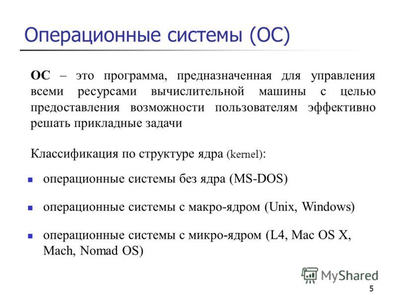 5 Операционные системы (ОС) ОС – это программа, предназначенная для управления всеми ресурсами вычислительной машины с целью предоставления возможности пользователям эффективно решать прикладные задачи Классификация по структуре ядра (kernel) : опера