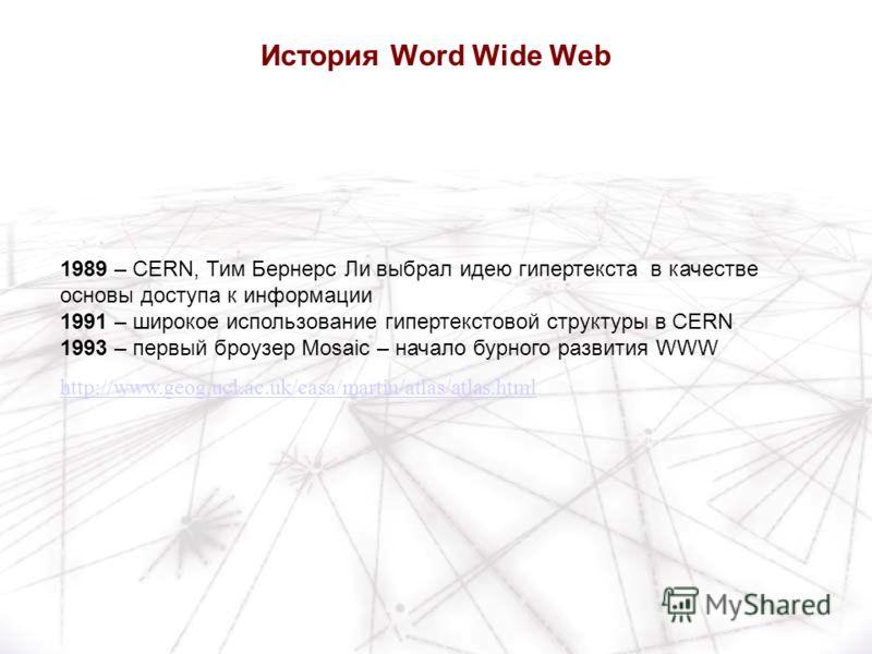 1989 – CERN, Тим Бернерс Ли выбрал идею гипертекста в качестве основы доступа к информации 1991 – широкое использование гипертекстовой структуры в CERN 1993 – первый броузер Mosaic – начало бурного развития WWW http://www.geog.ucl.ac.uk/casa/martin/a
