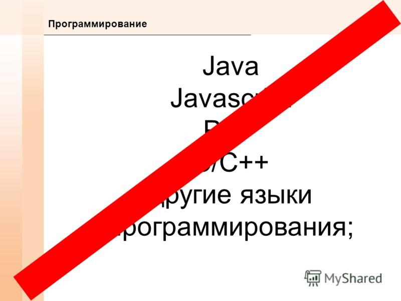 Программирование Java Javascript PHP C/C++ другие языки программирования;