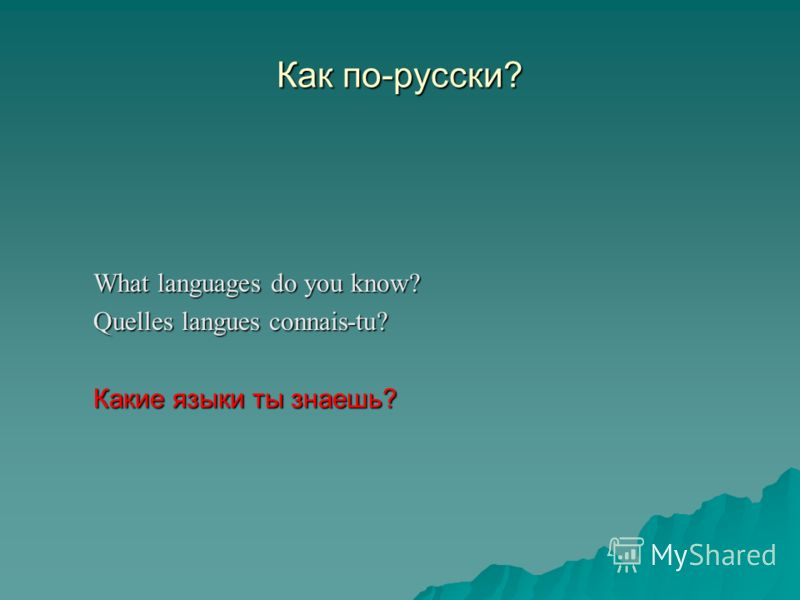 Как по-русски? What languages do you know? Quelles langues connais-tu? Quelles langues connais-tu? Какие языки ты знаешь?