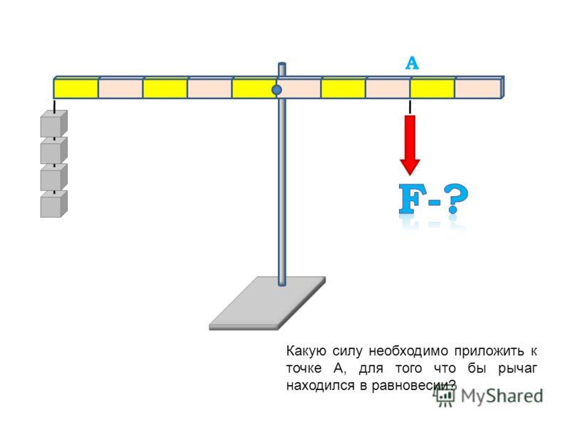 Подвесьте в точке А необходимое число грузиков, так что бы рычаг находился в равновесии. A A