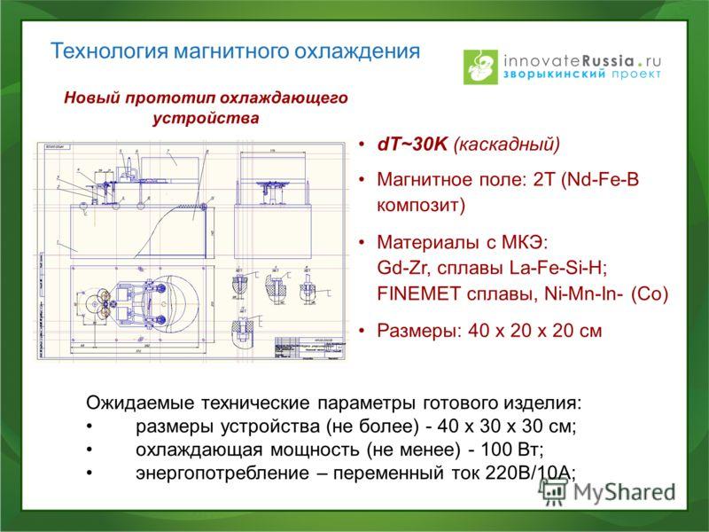 Технология магнитного охлаждения Новый прототип охлаждающего устройства dT~30K (каскадный) Магнитное поле: 2T (Nd-Fe-B композит) Материалы с МКЭ: Gd-Zr, сплавы La-Fe-Si-H; FINEMET сплавы, Ni-Mn-In- (Co) Размеры: 40 х 20 х 20 см Ожидаемые технические