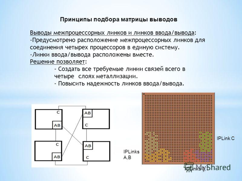 Выводы межпроцессорных линков и линков ввода/вывода: -Предусмотрено расположение межпроцессорных линков для соединения четырех процессоров в единую систему. -Линки ввода/вывода расположены вместе. Решение позволяет: - Создать все требуемые линии связ