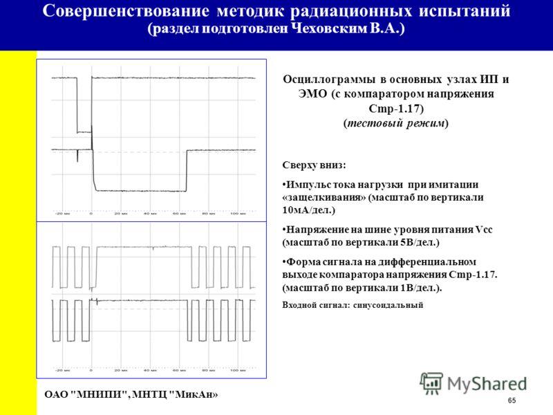 65 University Осциллограммы в основных узлах ИП и ЭМО (с компаратором напряжения Cmp-1.17) (тестовый режим) ОАО