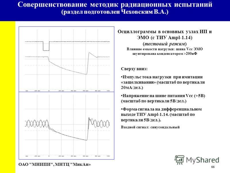 66 University Осциллограммы в основных узлах ИП и ЭМО (с ТИУ Ampl-1.14) (тестовый режим) Влияние емкости нагрузки: шина Vcc ЭМО шунтирована конденсатором >200нФ ОАО