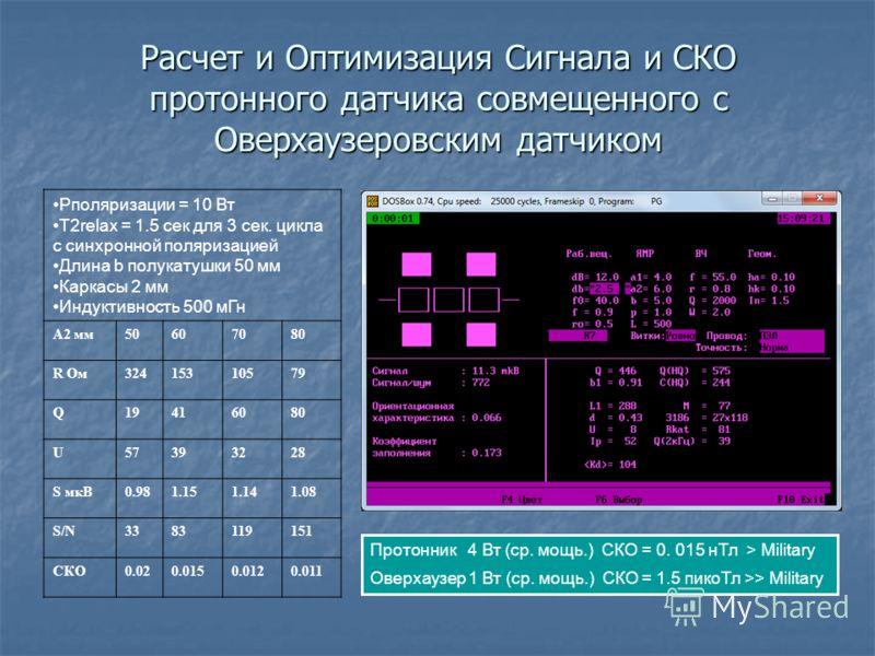 Расчет и Оптимизация Сигнала и СКО протонного датчика совмещенного с Оверхаузеровским датчиком Pполяризации = 10 Вт Т2relax = 1.5 сек для 3 сек. цикла с синхронной поляризацией Длина b полукатушки 50 мм Каркасы 2 мм Индуктивность 500 мГн А2 мм5060708