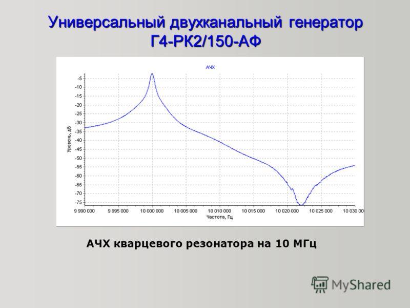 Универсальный двухканальный генератор Г4-РК2/150-АФ АЧХ кварцевого резонатора на 10 МГц