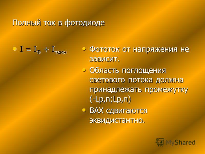 Полный ток в фотодиоде I = I Ф + I темн I = I Ф + I темн Фототок от напряжения не зависит. Фототок от напряжения не зависит. Область поглощения светового потока должна принадлежать промежутку (-Lp,n;Lp,n) Область поглощения светового потока должна пр