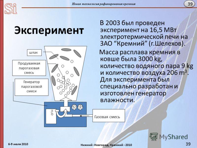 6-9 июля 2010 Нижний -Новгород, Кремний - 2010 Новая технология рафинирования кремния 39 Эксперимент В 2003 был проведен эксперимент на 16,5 MВт электротермической печи на ЗАО Кремний (г.Шелехов). Масса расплава кремния в ковше была 3000 kg, количест