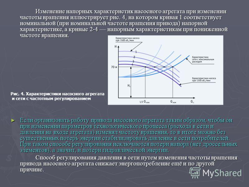 Изменение напорных характеристик насосного агрегата при изменении частоты вращения иллюстрирует рис. 4, на котором кривая 1 соответствует номинальной (при номинальной частоте вращения привода) напорной характеристике, а кривые 2-4 напорным характери