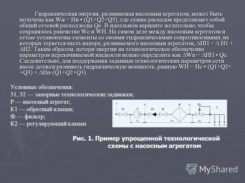 Гидравлическая энергия, развиваемая насосным агрегатом, может быть получена как Wн = Нн (Q1+Q2+Q3), где сумма расходов представляет собой общий сетевой расход воды Qc. В идеальном варианте желательно, чтобы сохранялось равенство Wc и WH. На самом д