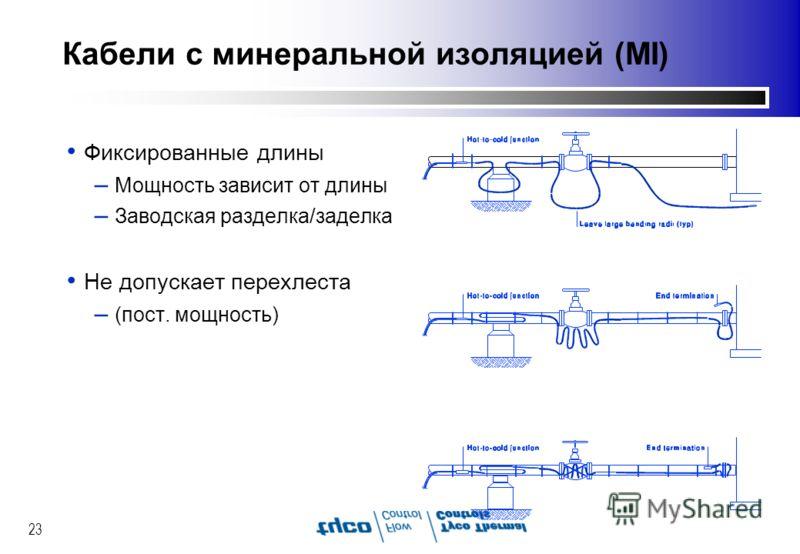 23 Кабели с минеральной изоляцией (MI) Фиксированные длины – Мощность зависит от длины – Заводская разделка/заделка Не допускает перехлеста – (пост. мощность)