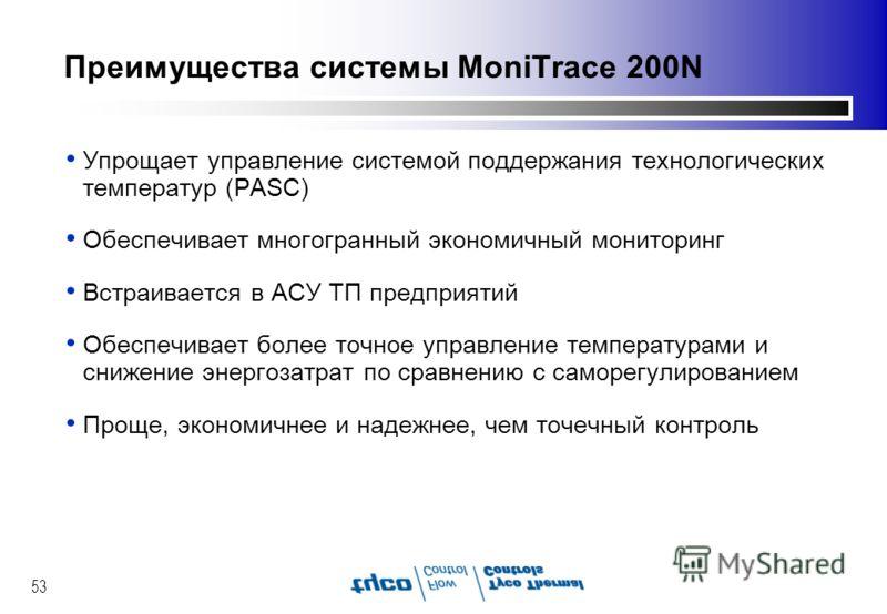 53 Преимущества системы MoniTrace 200N Упрощает управление системой поддержания технологических температур (PASC) Обеспечивает многогранный экономичный мониторинг Встраивается в АСУ ТП предприятий Обеспечивает более точное управление температурами и