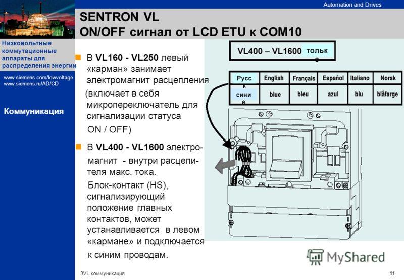 Automation and Drives Низковольтные коммутационные аппараты для распределения энергии www.siemens.com/lowvoltage www.siemens.ru/AD/CD 3VL коммуникация11 Коммуникация В VL160 - VL250 левый «карман» занимает электромагнит расцепления (включает в себя м