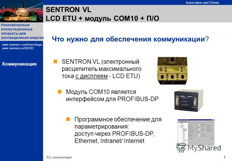 Automation and Drives Низковольтные коммутационные аппараты для распределения энергии www.siemens.com/lowvoltage www.siemens.ru/AD/CD 3VL коммуникация3 Коммуникация SENTRON VL LCD ETU + модуль COM10 + П/О Программное обеспечение для параметрирования: