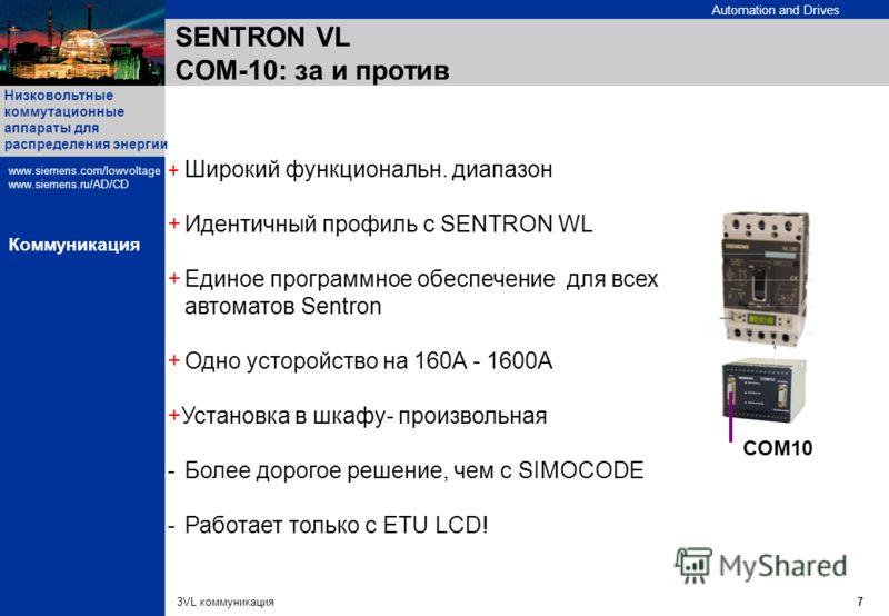 Automation and Drives Низковольтные коммутационные аппараты для распределения энергии www.siemens.com/lowvoltage www.siemens.ru/AD/CD 3VL коммуникация7 Коммуникация SENTRON VL СОМ-10: за и против + Широкий функциональн. диапазон +Идентичный профиль с